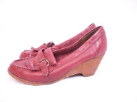 Vintage Pinwheels Brick Red Tassel Wedge Heel
