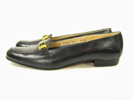 Vintage Navy Leather Ferragamo Loafers