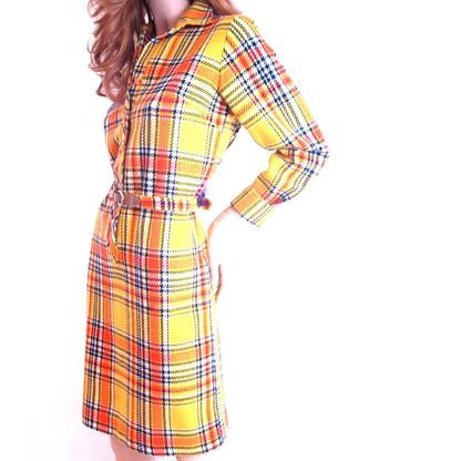 Vintage Yellow Plaid Sheath Dress