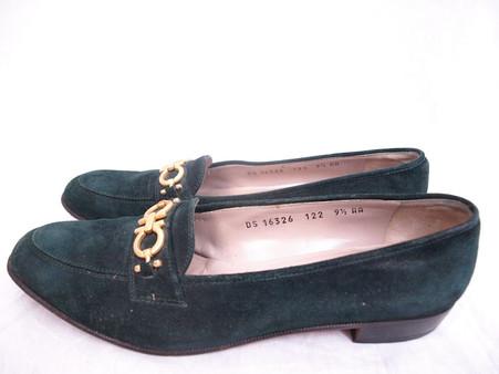 Vintage Salvatore Ferragamo Hunter Green Suede Loafer