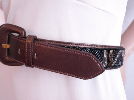 Vintage 1980's Ginnie Johansen Bronze Beaded Belt