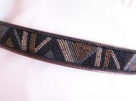 Vintage 1980's Ginnie Johansen Bronze Beaded Belt