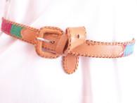 Vintage 1970's/80's Aztec Guatemalan Woven Leather Belt