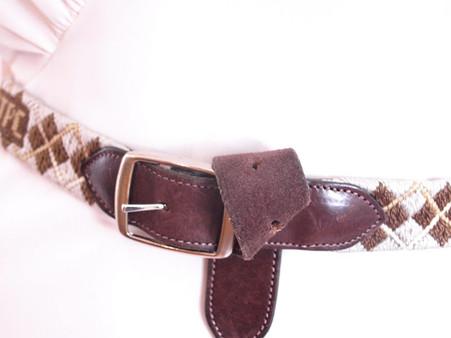 Vintage Cowhide Argyle Woven Belt