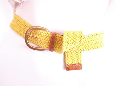 Vintage 1980's Yellow Woven Stretch Belt