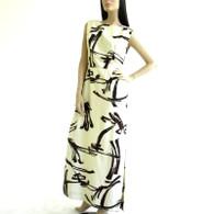 Vintage 1950s-60s Cream Brushstroke Sleeveless Maxi Dress