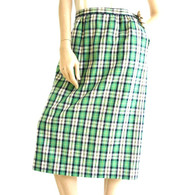 Vintage 1970's Pendleton - Green Preppy Plaid Midi Skirt