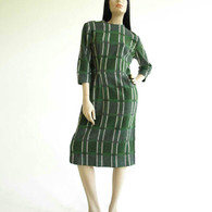 1950s dress, wool, plaid