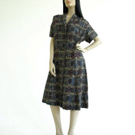 Vintage 1950s Blue Tribal Print Shirt Dress at Borough Vintage.