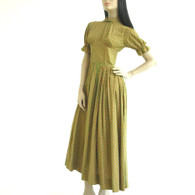 Vintage 1940s Dress Medallion Print Maxi at Borough Vintage.
