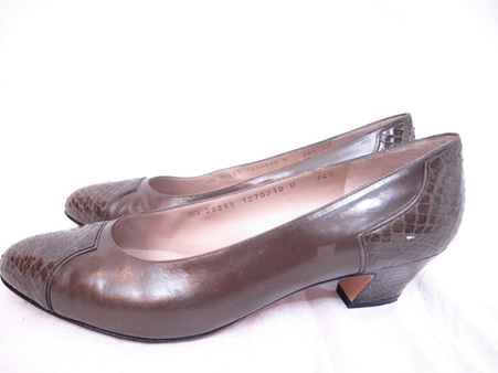 Designer Vintage Salvatore Ferragamo Bronze Cap Toe Shoes at Borough Vintage.