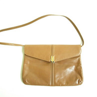 Vintage 1970s Tan Italian Leather Shoulder Bag at Borough Vintage.