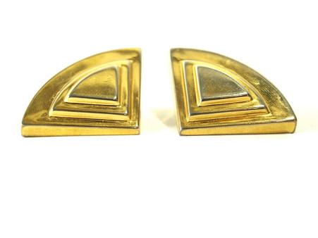 Gold Horizon Vintage Clip On Earrings