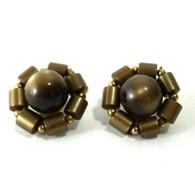 Bronze Flower Clip Earrings