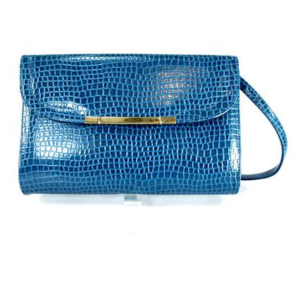 Blue Embossed Handbag