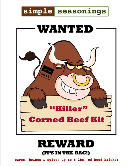"""Killer"" Corned Beef Kit™ - Product Label (front) by go lb. salt ® - store.golbsalt.com"