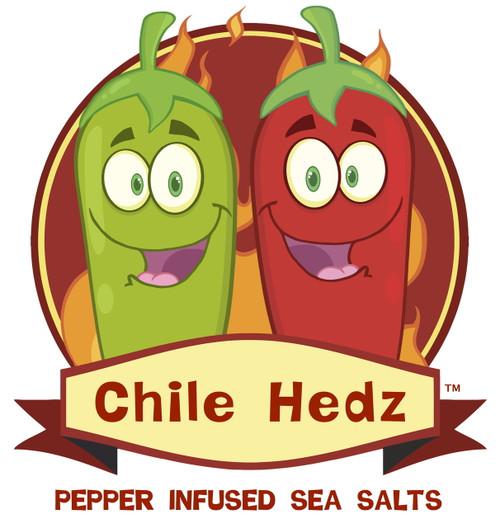 Taste·ology™ - Smoked Serrano Infused Sea Salt (Chile Hedz logo) by go lb. salt ® - store.golbsalt.com