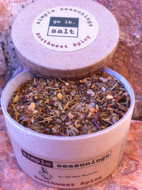 simple seasonings™ - spicerageous!™ all natural, herb & spice blend (retail product image - open) by go lb. salt ® - store.golbsalt.com