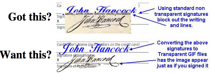 How to create a digital or electronic signature, showing before and after