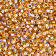 Miyuki Round Seed Bead Size 11/0 Gold Silver Lined AB SB 1003