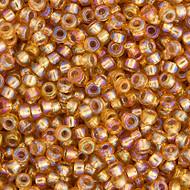 Miyuki Round Seed Bead Size 11/0  Dark Gold Silver Lined AB SB 1004