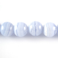 Blue Lace Agate 10mm Round Bead - by the strand