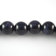 Blue Goldstone 12mm Round Bead - by the strand
