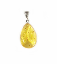 Baltic Yellow Amber Pendant With Sterling Silver Bail 18x27mm - One Piece