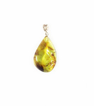 Baltic Yellow/Green Amber Pendant With Sterling Silver Bail 21x34mm - One Piece