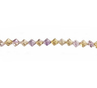 Ametrine Facetted Diamond Shaped Beads - by the strand