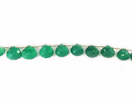Green Onyx Top-Drilled Facetted Onion Briolettes - by the strand