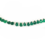 Green Onyx Facetted Briolette Beads - by the strand