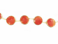 Carnelian Facetted Coin Beads in Gold Vermeil Bezel Frame - by the strand