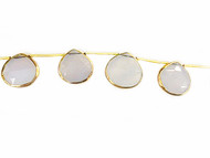 Blue Chalcedony Top-Drilled Facetted Teardrop Beads in Gold Vermeil Bezel Frame - by the strand
