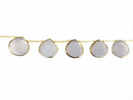 Blue Chalcedony Facetted Teardrop Beads In Gold Vermeil Bezel Frames - by the strand