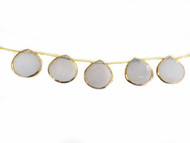 Blue Chalcedony Top-Drilled Facetted Teardrop Beads In Gold Vermeil Bezel Frames - by the strand