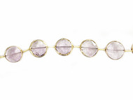 Lavender Amethyst Facetted Coin Beads in Gold Vermeil Bezel Frames - by the strand
