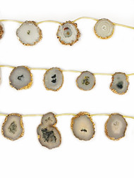 Solar Quartz Slice Beads In Gold Vermeil Bezel Frames - by the strand
