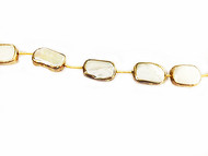 Freshwater Pearl Stick Beads In Gold Vermeil Bezel frame - by the strand