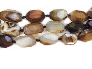 Brown Agate Facetted Irregular Nuggets 20x30mm - By The Strand