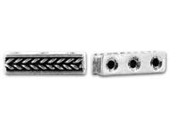 TierraCast Antique Silver Braided Bar 3 Hole Link each
