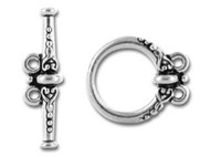 TierraCast Antique Silver Heirloom 2 loop Toggle Clasp Set each