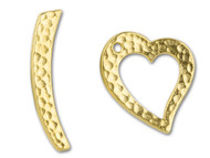 TierraCast Bright Gold Hammered Heart Toggle Clasp Set each