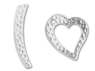 TierraCast Bright Rhodium Hammered Heart Toggle Clasp Set each