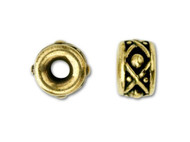TierraCast 8mm Antique Gold Legend Large Hole Spacer Bead each (35445)