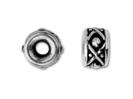 TierraCast 8mm Antique Silver Legend Large Hole Spacer Bead each