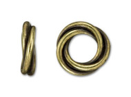 TierraCast 12mm Antique Brass Twisted Spacer Bead each