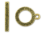 """TierraCast 5/8"""" Antique Gold Spiral Toggle Clasp Set each"""