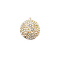Pendant Round 20mm with CZ Gold Plated Copper - each