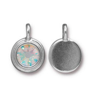 TierraCast Bright Rhodium Charm With Crystal AB Swarovski SS34 each